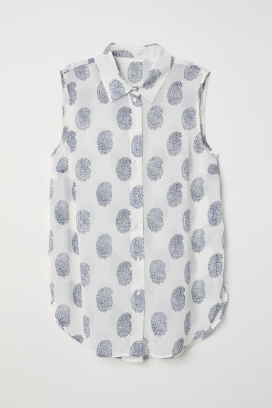 Sleeveless blouse - White/Blue patterned - Ladies | H&M