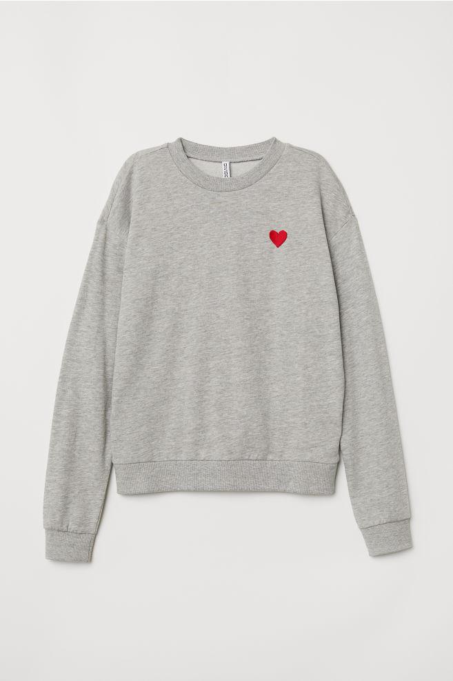 Sweatshirt Gray Melangeheart Ladies Hm Us