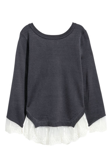 Jumper with lace trims - Dark blue -  | H&M