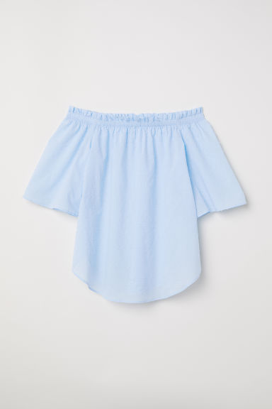 Off-the-shoulder top - Light blue - Ladies | H&M CN
