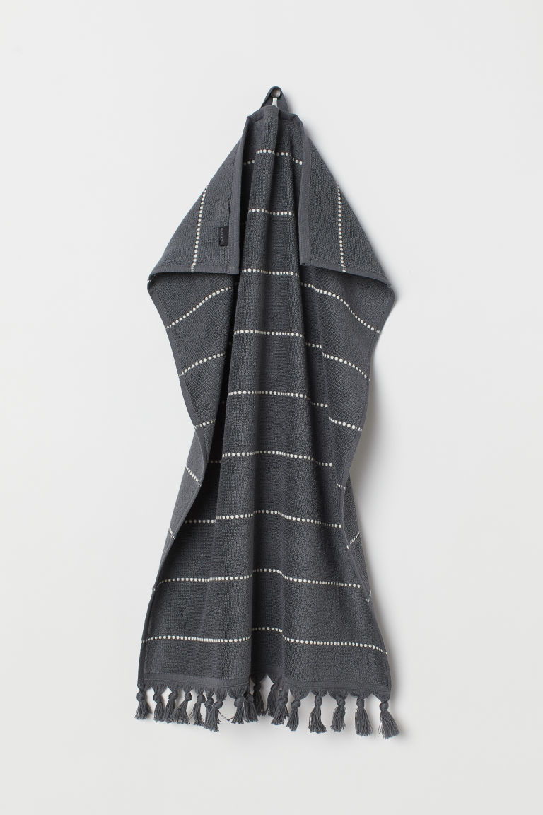 Tasselled hand towel - Anthracite grey/Striped - Home All | H&M CN