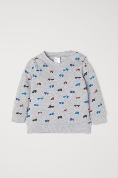 Cotton sweatshirt - Light grey marl/Vehicles - Kids | H&M