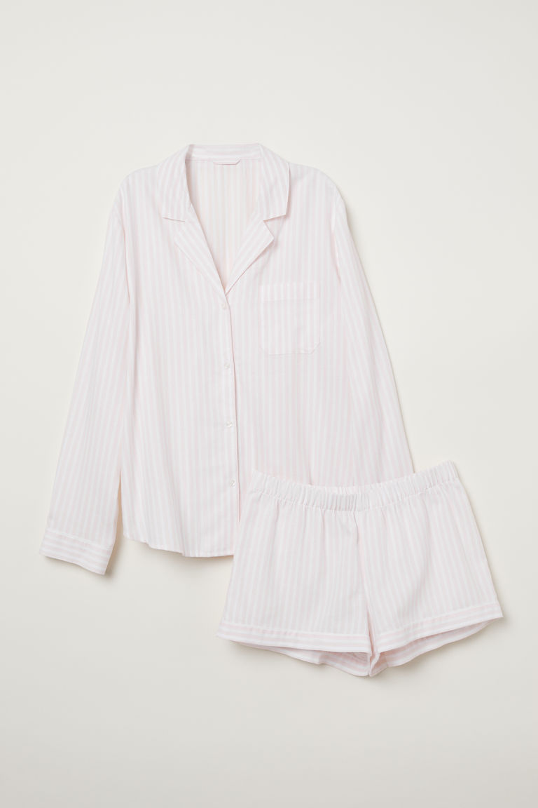 Pyjama shirt and shorts - Powder pink/Striped - Ladies | H&M