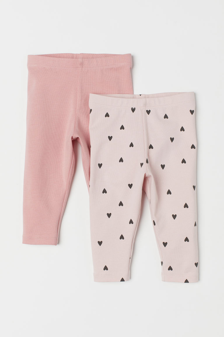 2-pack leggings - Pink/Hearts - Kids | H&M