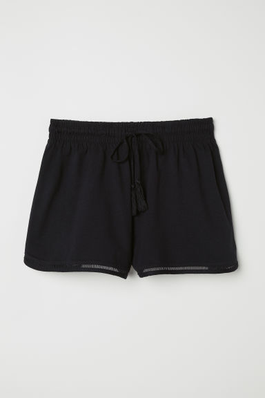 Slub jersey shorts - Black - Ladies | H&M