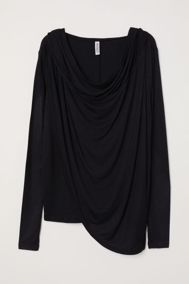 Draped hooded top - Black -  | H&M