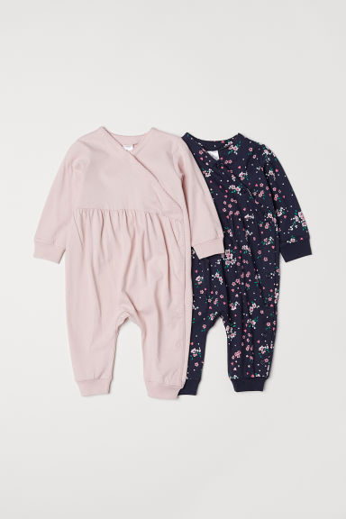 2-pack all-in-one pyjamas - Dark blue/Floral - Kids | H&M CN