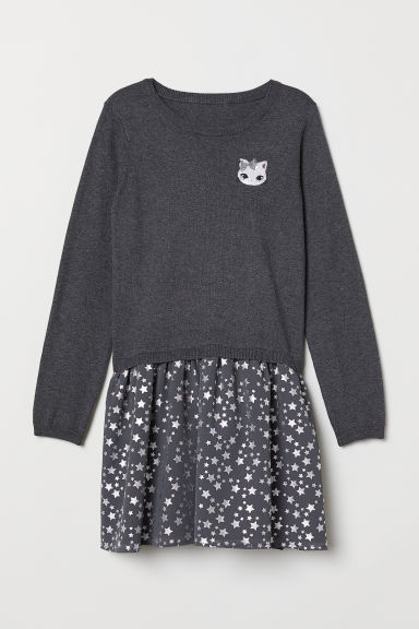 Dress with a flared skirt - Dark grey/Stars - Kids | H&M