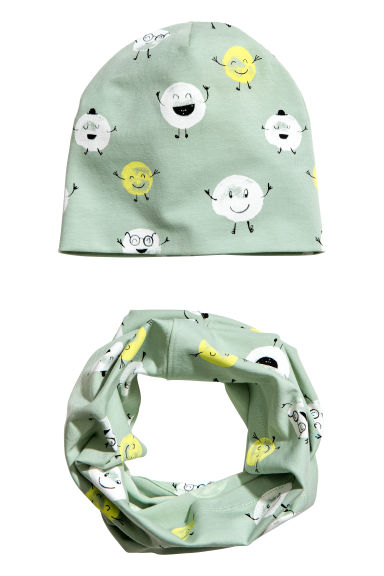 Hat and tube scarf - Dusky green/Patterned - Kids | H&M