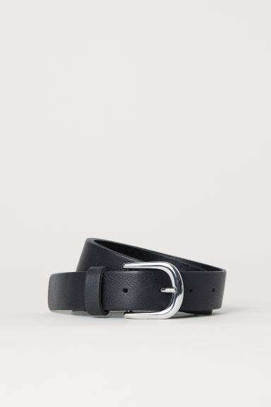 Leather belt - Black/Silver-coloured - Ladies | H&M