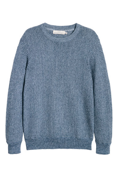 Rib-knit cotton jumper - Blue marl -  | H&M