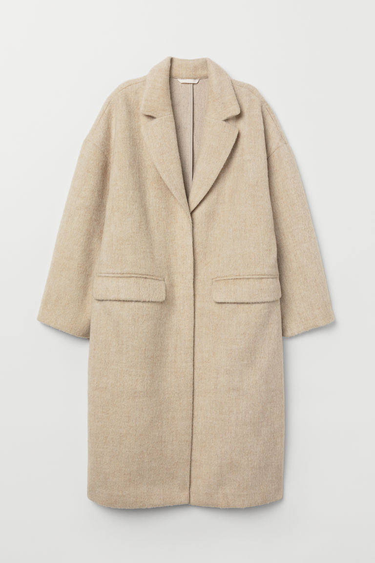 Knee-length coat - Light beige marl - Ladies | H&M