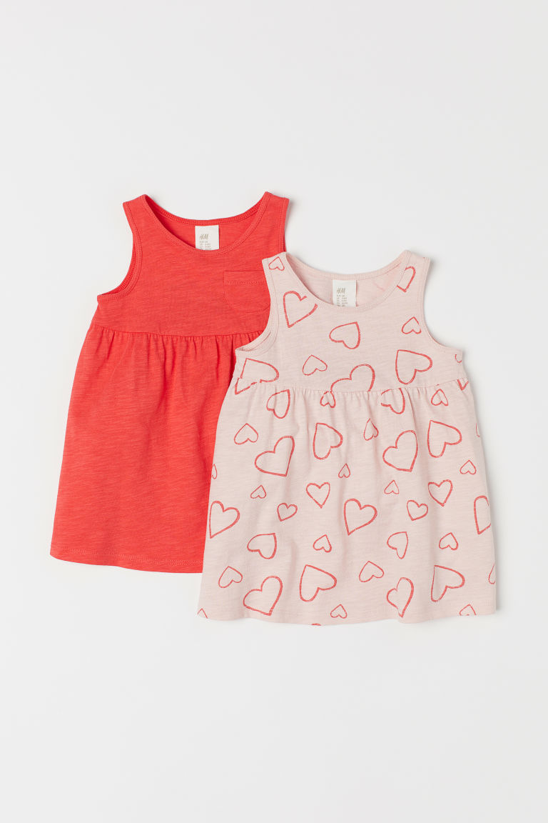 2-pack jersey dresses - Pink/Hearts - Kids | H&M