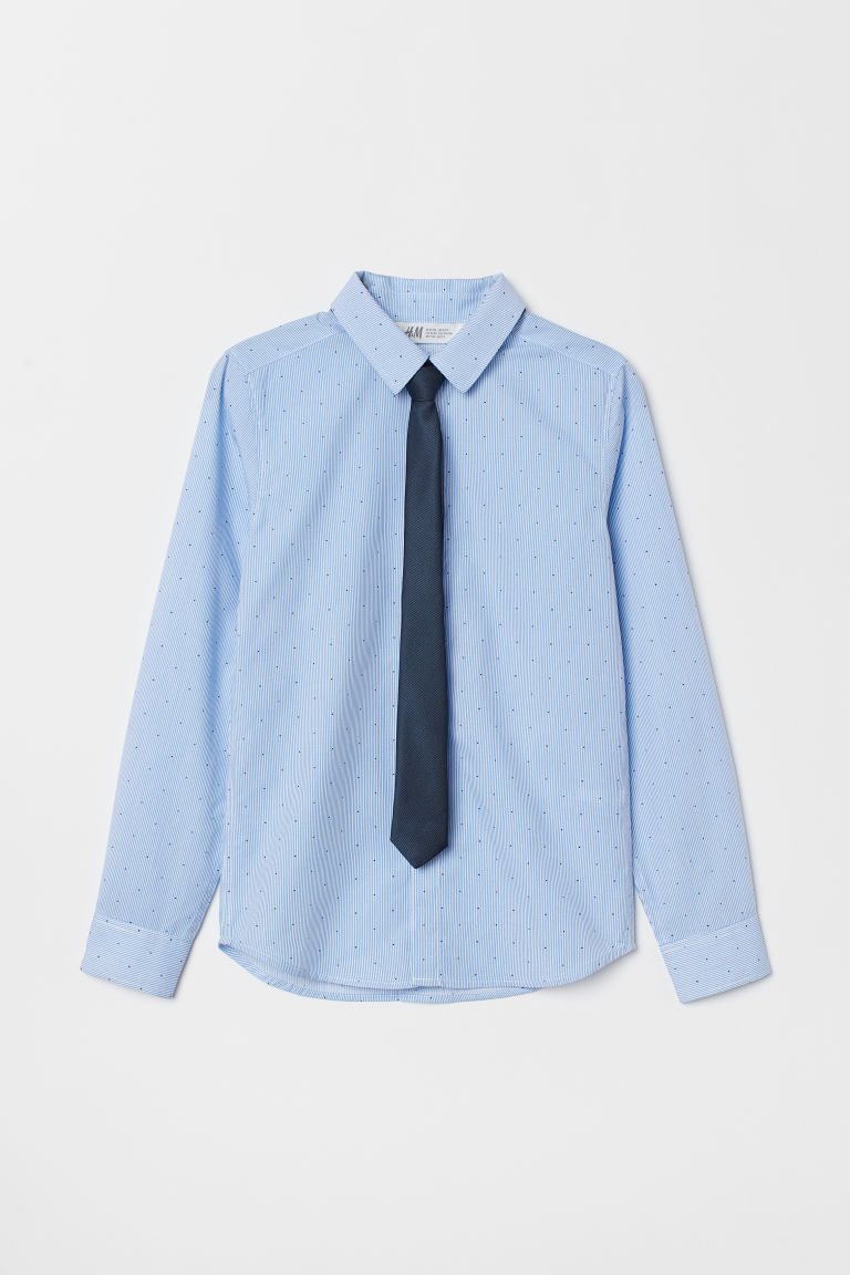 Shirt with a tie/bow tie - Light blue/Tie - Kids | H&M GB