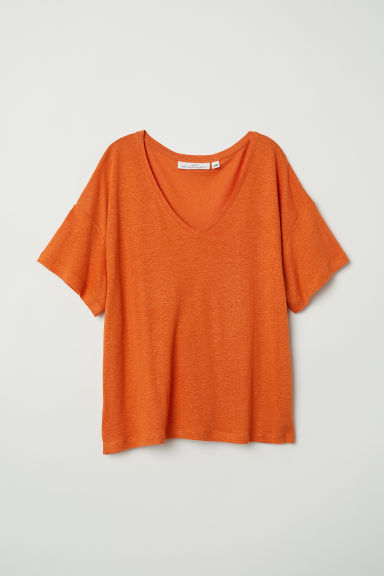 V-neck linen-blend T-shirt - Orange - Ladies | H&M CN