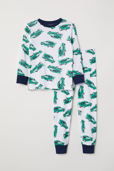 Jersey pyjamas - White/Cars - Kids | H&M