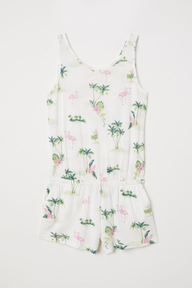 Printed playsuit - Natural white/Flamingos -  | H&M CN