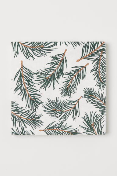Paper napkins - White/Fir twigs - Home All | H&M CN