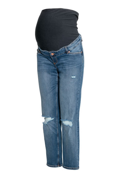 MAMA Boyfriend Jeans - Denim blue/Trashed -  | H&M