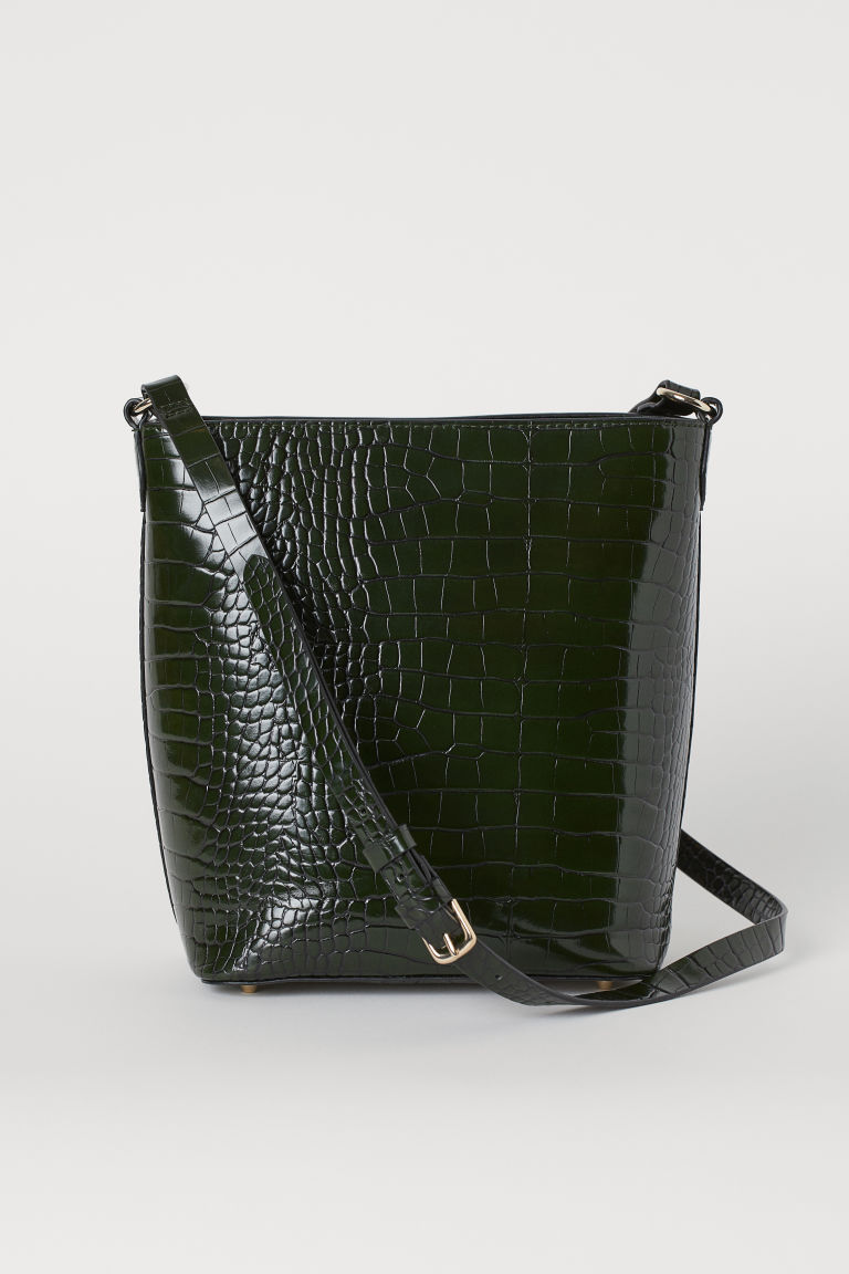 Shoulder Bag - Dark green/crocodile-patterned - Ladies | H&M CA