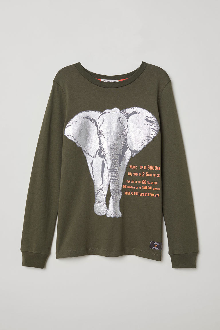 Jersey top with a print motif - Khaki green/Elephant - Kids | H&M