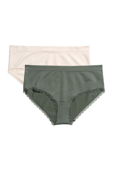 2-pack seamless hipster briefs - White/Khaki green -  | H&M