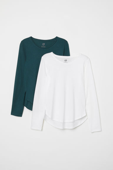 2-pack tops - White/Dark green - Kids | H&M CN