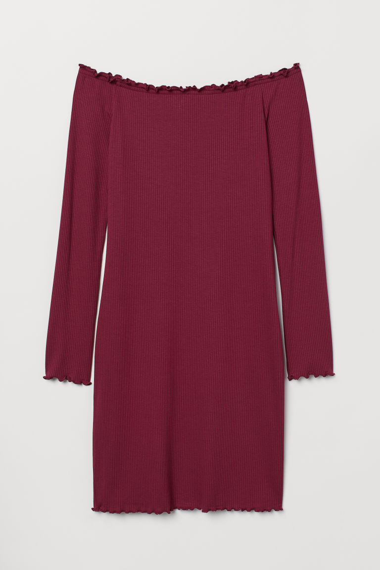 Off-the-shoulder dress - Plum -  | H&M