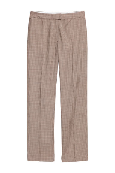 Wool-blend trousers - Beige/Dogtooth-patterned -  | H&M