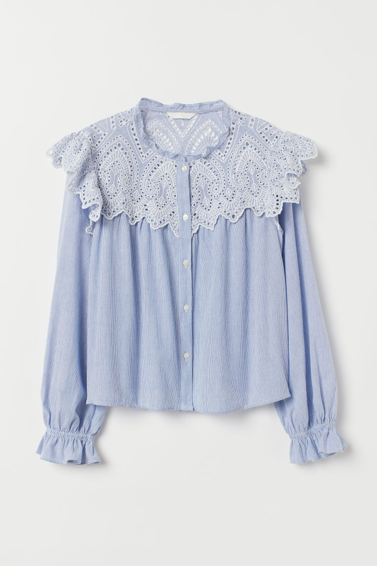 Blouse with broderie anglaise - Blue/White striped -  | H&M CN