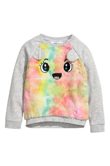 Sweatshirt with faux fur - Light grey/Multicoloured -  | H&M CN