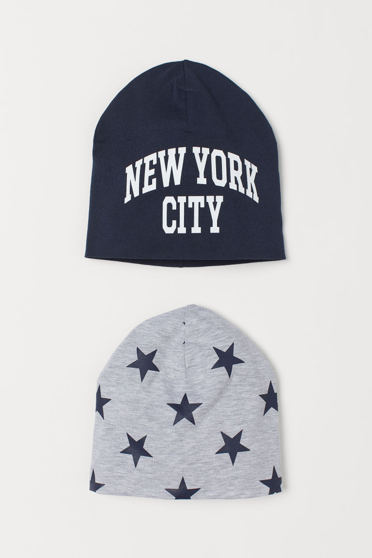 Set van 2 tricot mutsen - Donkerblauw/New York City - KINDEREN | H&M BE
