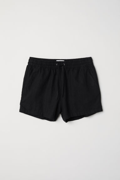 Linen-blend shorts - Black - Ladies | H&M