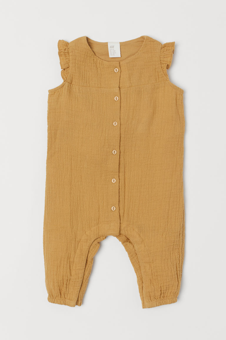 Cotton all-in-one suit - Mustard yellow - Kids | H&M GB