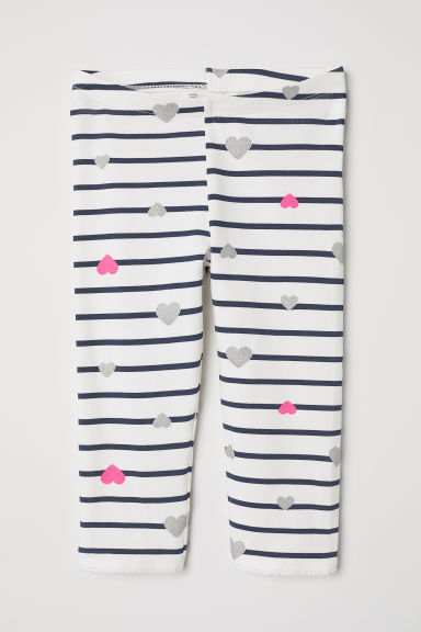 3/4-length leggings - White/Striped - Kids | H&M CN