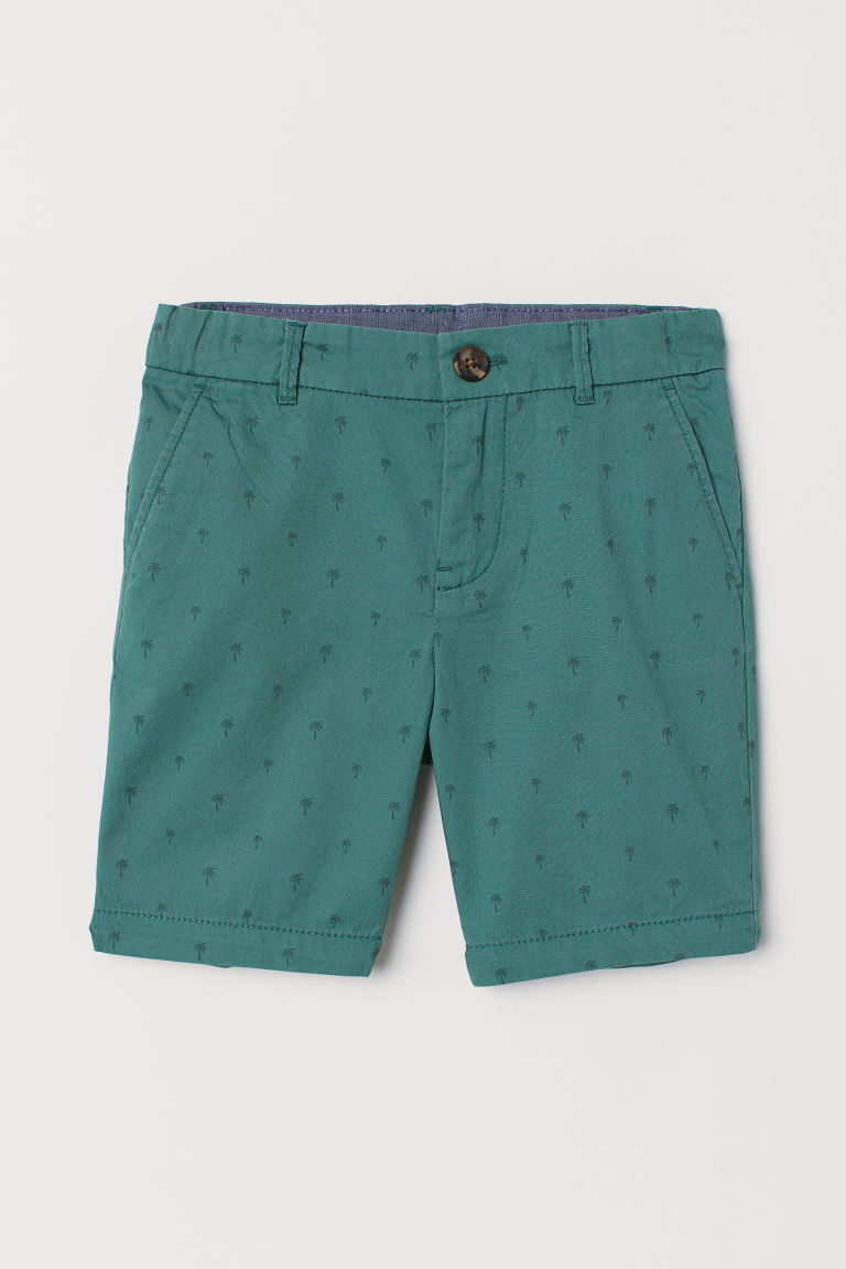 Chino shorts - Green/Palm trees - Kids | H&M GB