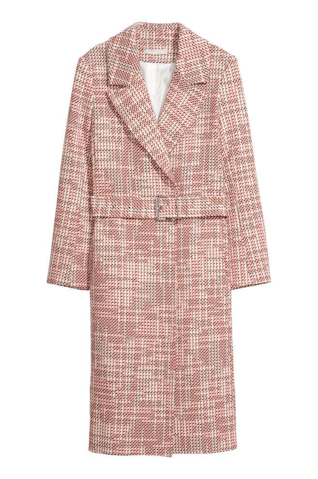 9a47f7f078d Manteau en tissu armuré - Blanc rouge - FEMME