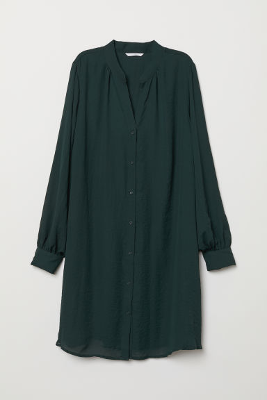 Dress with V-shaped neck - Dark green - Ladies | H&M