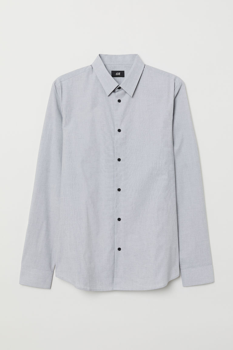 Skjorta Muscle Fit - Grå/Chambray - HERR | H&M SE
