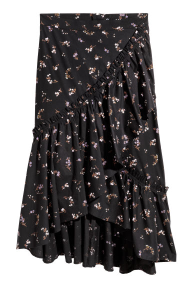 Wrapover skirt - Black -  | H&M