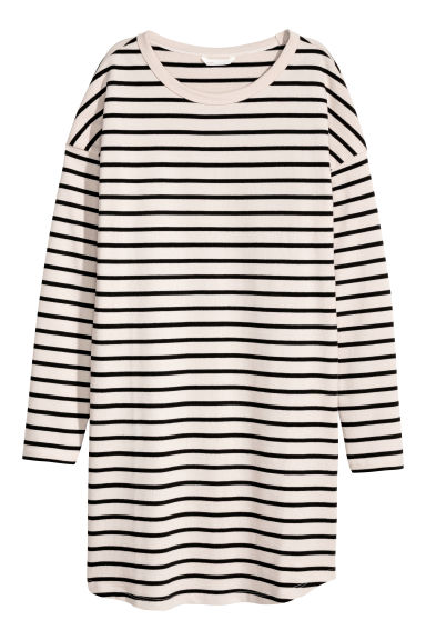 Long-sleeved jersey dress - Natural white/Striped -  | H&M