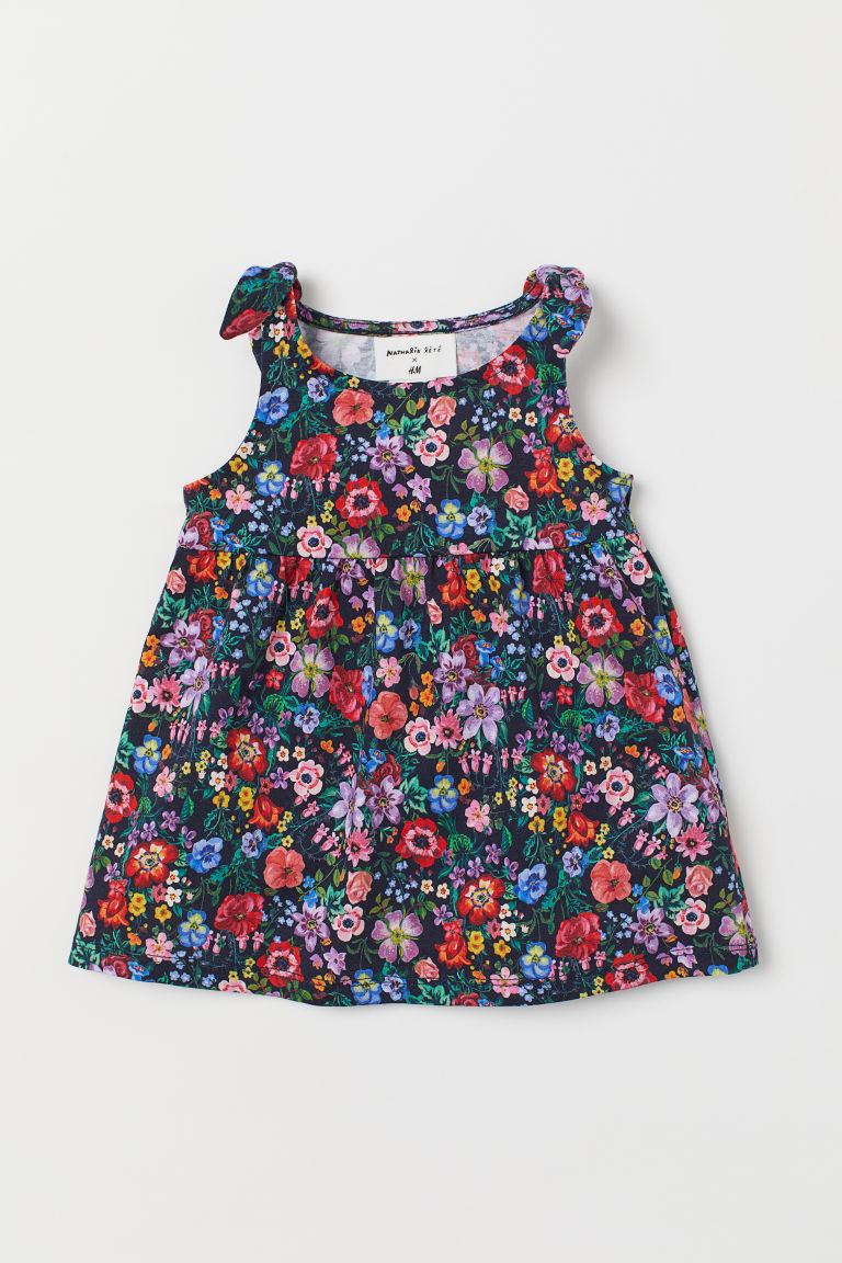 Patterned jersey dress - Dark blue/Floral - Kids | H&M