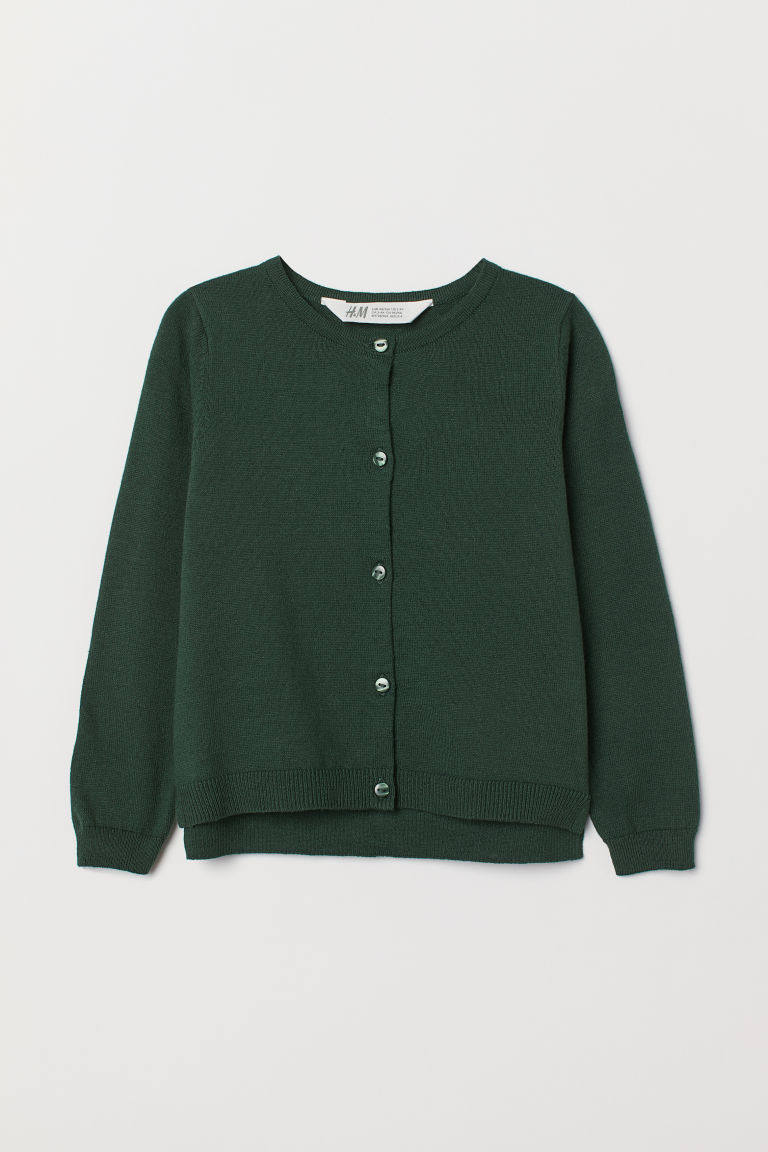 Fine-knit cardigan - Dark green - Kids | H&M IE
