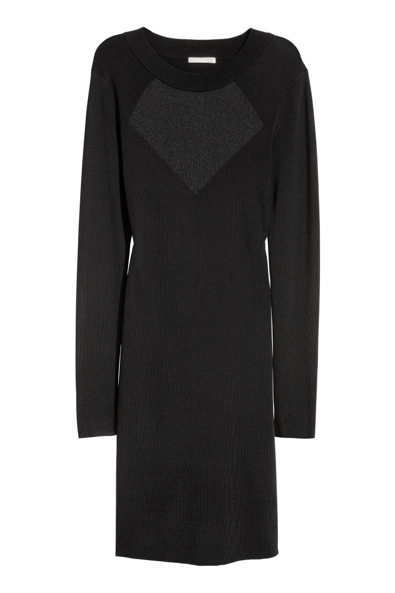 Fine-knit dress - Black - Ladies | H&M CN