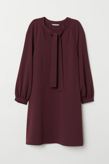 Dress with ties - Burgundy -  | H&M CN