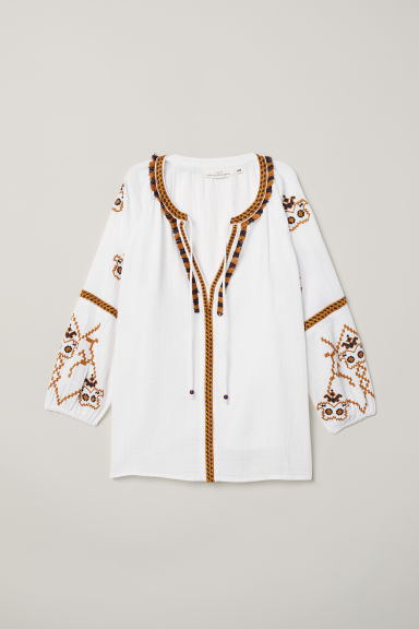 Embroidered blouse - White - Ladies | H&M