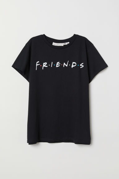 印花T恤 - 黑色/Friends - Ladies | H&M CN