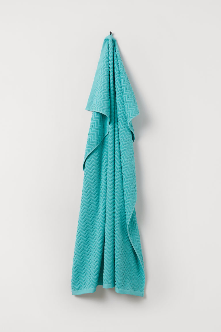 Jacquard-weave Bath Sheet - Light turquoise - Home All | H&M US