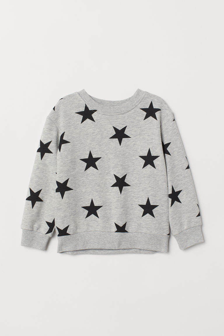 Sweatshirt - Light grey marl/Stars - Kids | H&M CN