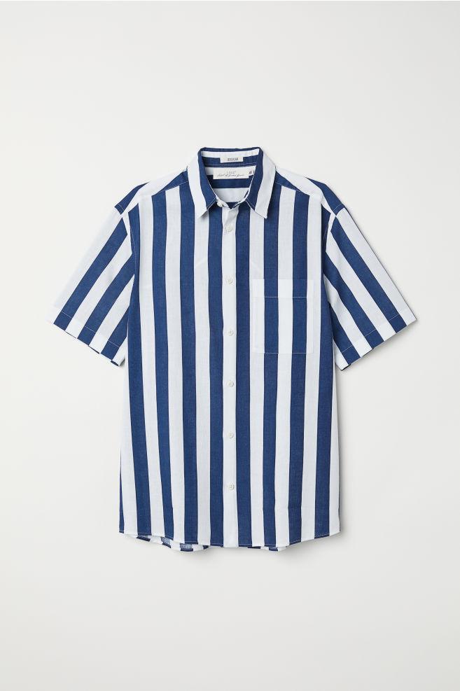 0d2cb8fe19 Regular Fit Linen-blend Shirt - Dark blue white striped - Men